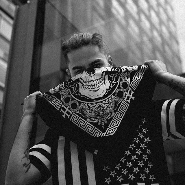 """Death Mandala"" Bandana & ""Americunt"" Striped Mesh Tee Available at www.crmcclothing.co | WE SHIP WORLDWIDE  Model - Jordan Thomas Photography - JT Photography #darkwear #sale #symbology #blackwear #iloveblack #altfashion #alternative #fashionstatement #fashionista #fashionoftheday #dailyfashion #grungefashion #grunge #satan #starsandstripes #alternativeguy #alternativeboy #alternativegirl #bandana #deathsheadmoth #mandala #meshtee #love #occult #skulls"