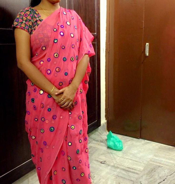 Light peach color Gujari work georget saree with designer blouse.....| online saree shopping | Elegant Fashion Wear Price:5000 #elegantfashionwear #mirrorwork #saree #gujariblouse