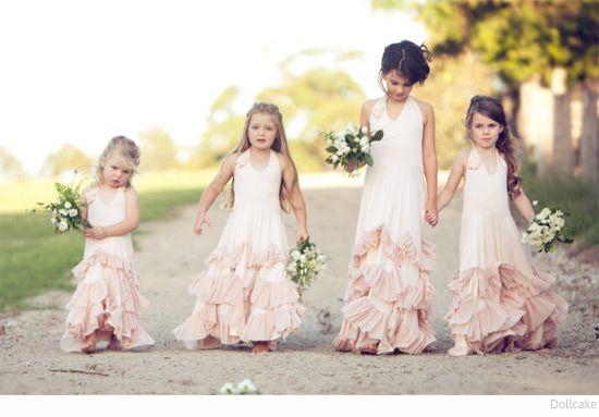 Feminine flowy style for bridesmades.  Bondville: Dollcake boho flower girl dresses for girls