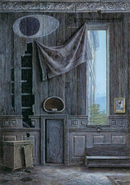 "Otto Frello (b. 1924) is a Danish painter and illustrator. ""Den høje væg"", 1987"
