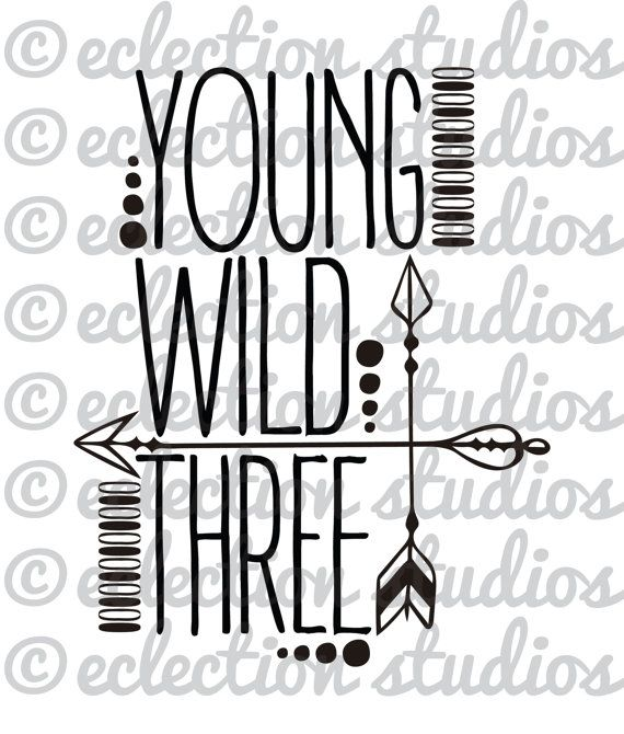 Young Wild & Three with tribal arrows, third birthday, boy shirt design, 3 year old SVG file for silhouette or cricut die cutting machine