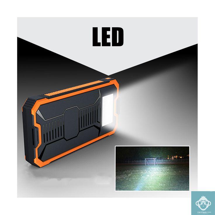 Cargador Solar 20,000 mAh con linterna LED (a prueba de agua). A la venta en monkitech.com