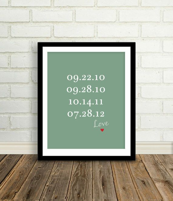 Special Dates - Near and Dear Custom Family or Children Birth Dates - 8x10 / Choose your color - List kids birthdays. $24.00, via Etsy.