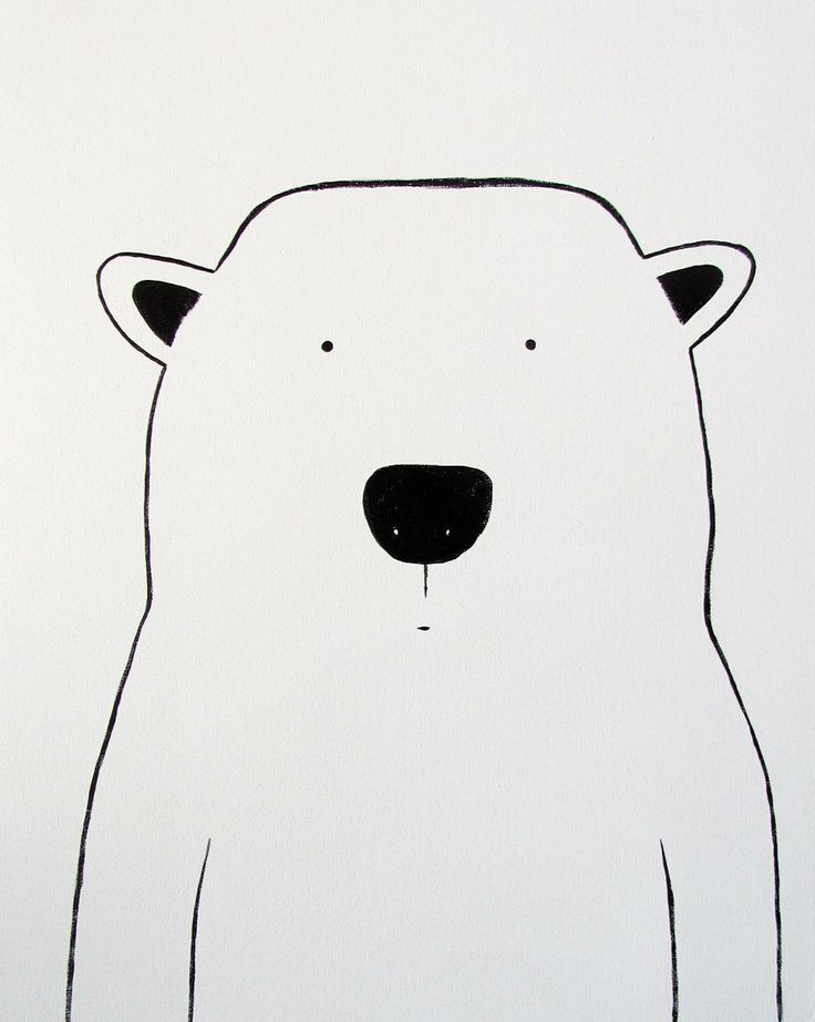 "Modern Kids and Nursery Polar Bear Art Original Painting - 16"" x 20"" on regular 3/4"" depth canvas - The Polar Bear"