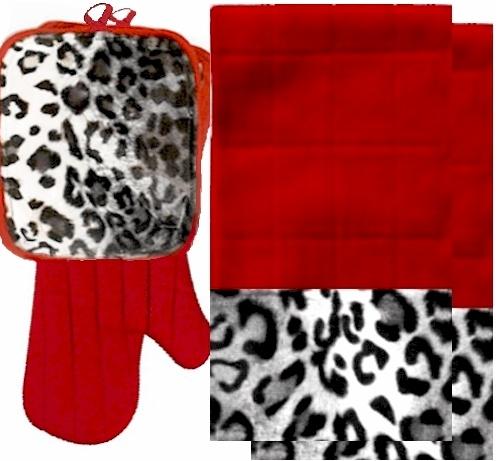 AnythingAnimals.com Animals Bordering Africa Animal Print Kitchen Linen Set  Red/Snow Leopard $35