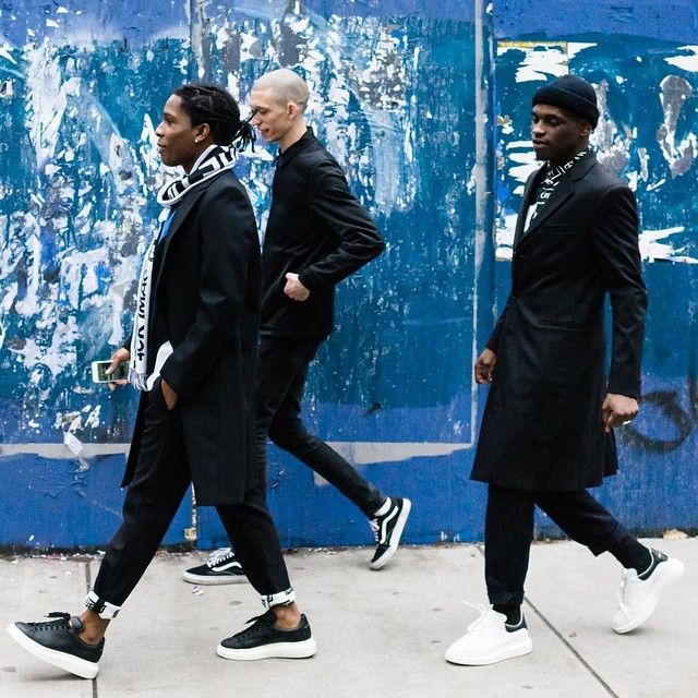 ASAP-Rocky-and-crew-wearing-Alexander-McQueen-Exaggerated-Sole-Platform-Sneakers-Shoes