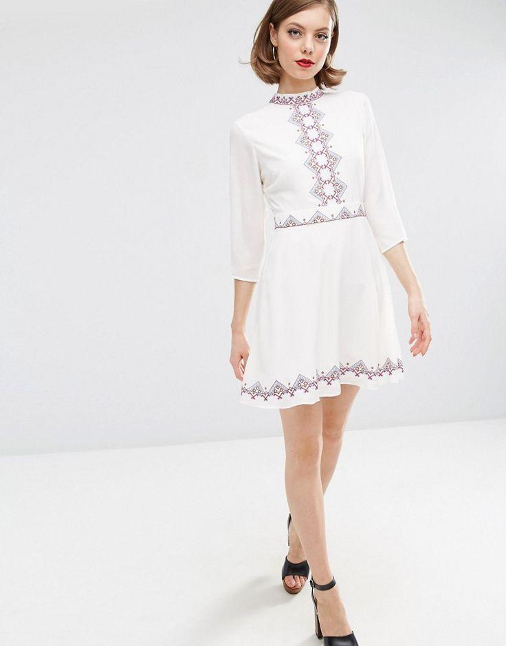 Image 4 ofASOS Pretty Embroidered Folk Skater Dress