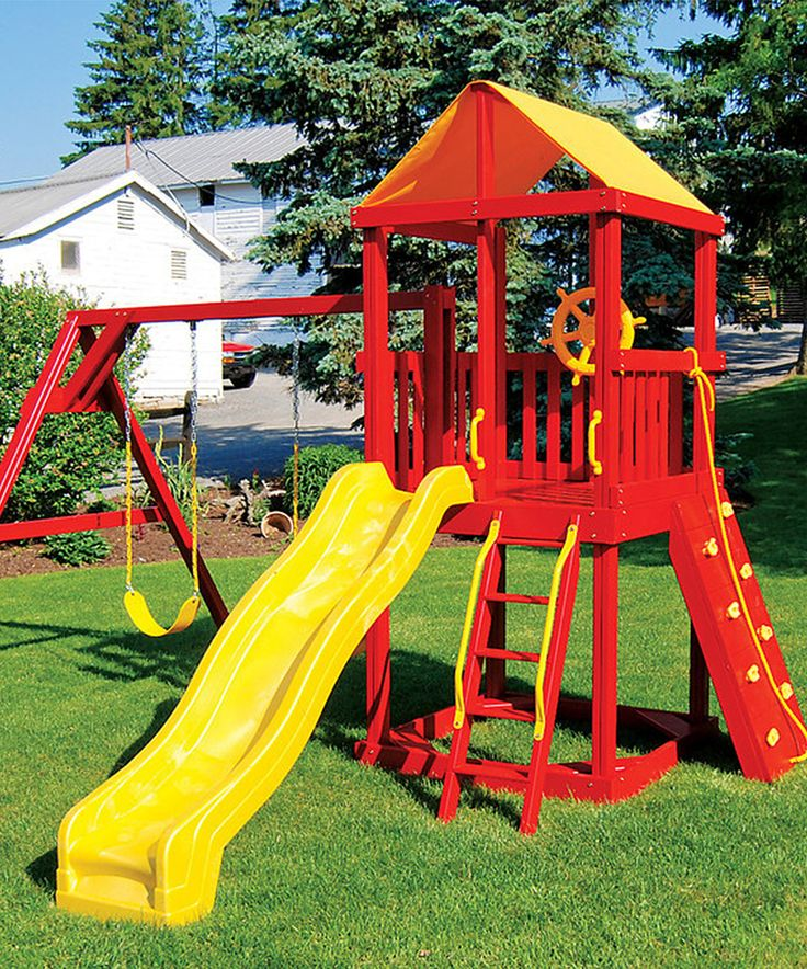 This Red & Yellow Kids Swing Set by A&L Furniture is perfect! #zulilyfinds