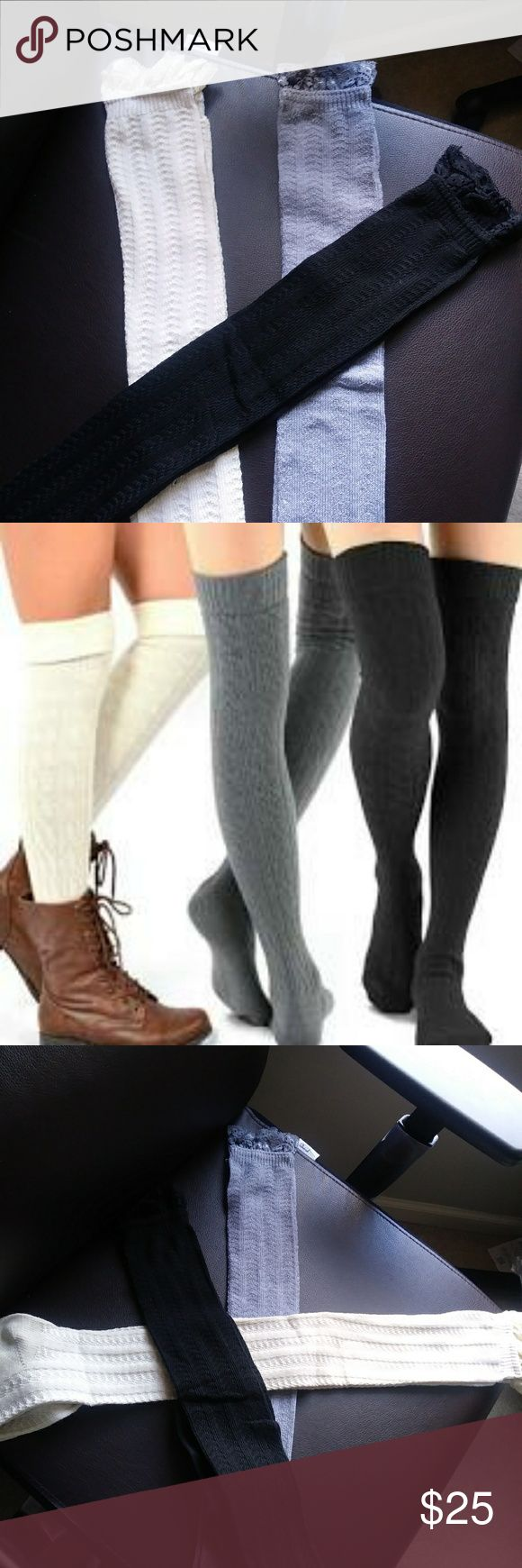 Over the Knee Boot Socks with lace Top New never wore just took out of bag to take pics 97% polyester 3 % spandex Size 9-11 Same colors in picture All three as a set not sold separately Accessories Hosiery & Socks
