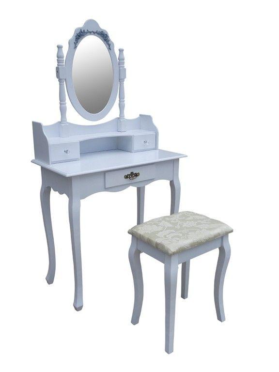 SEA326 - Set alb masa toaleta cu taburet http://www.emobili.ro/cumpara/sea326-set-masa-alba-toaleta-cosmetica-machiaj-oglinda-masuta-381 #eMobili