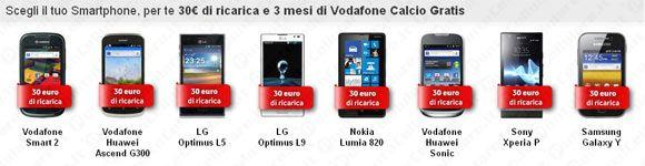 Vodafone - 30 euro di ricarica in omaggio sui nuovi smartphone