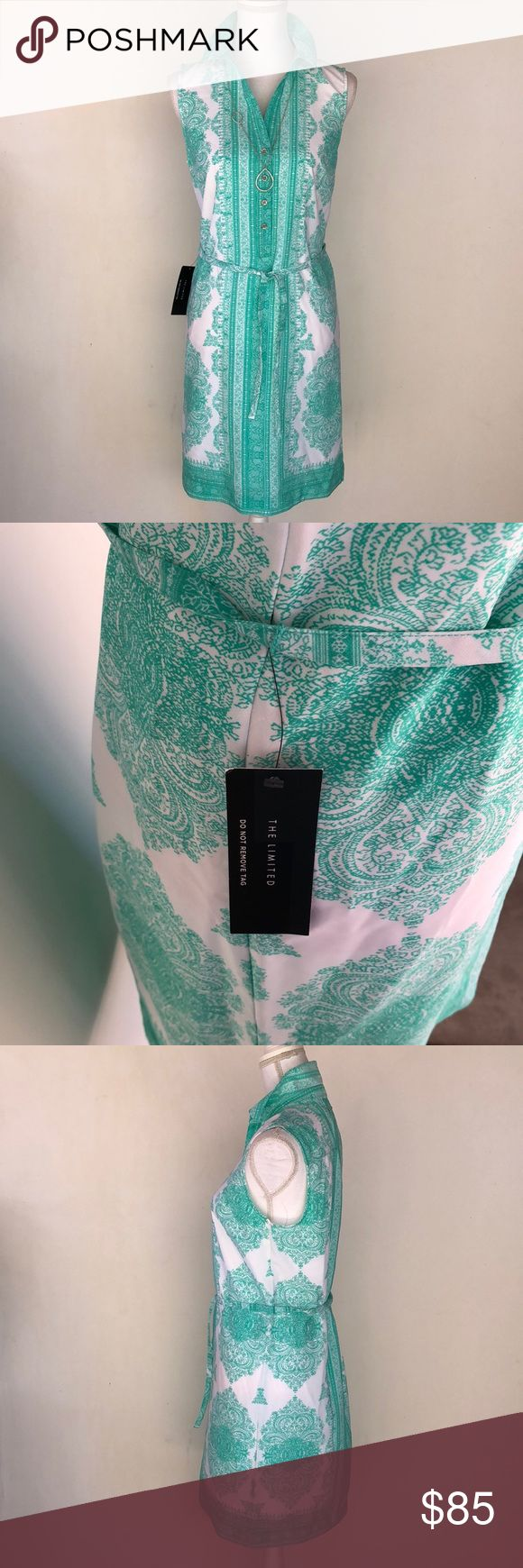 NWT The Limited Ashton Teal & White Dress, S This incredible NWT The Limited Ashton Teal & White Dress, S is perfect for just about any occasion! Wear t to work or out on the town with friends!  NWT EXCELLENT CONDITION NO DEFECTS PLEASE ASK FOR MEASUREMENTS BEFORE PURCHASING The Limited Dresses