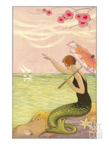 Mermaid Waving at Sailboats Art Print at Art.com