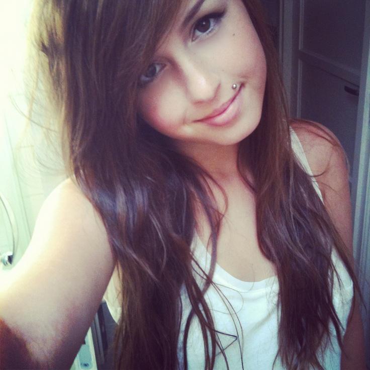 me girl selfie face piercing long hair plugs