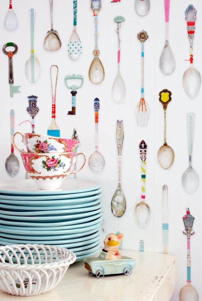 Teaspoons Wallpaper from Studio Ditte: Remodelista