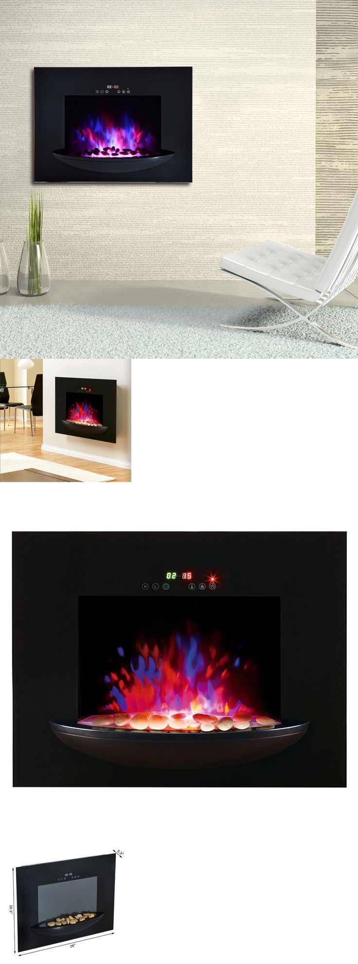 Fireplaces 175756: Homcom Adjustable 1500W Electric Fireplace Heater Wall Mount Elegant Glass View -> BUY IT NOW ONLY: $109.99 on eBay!
