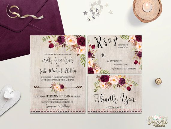 Printable Rustic Bohemian Wedding Invitations Suite that will be envied and adored the minute it arrives! Carefully designed to take a part in making your Wedding day even more remarkable and impressive! You have only one chance to make first impression. We help to make it perfect! IMPORTANT INFORMATION - what you need to know before order ✉ INCLUDED - Customized Digital Files ✉ • Wedding invitation - 5 x 7 (fits inside A7 envelope) • RSVP card - 5 x 3.5 (fits inside A2 or 4Ba...