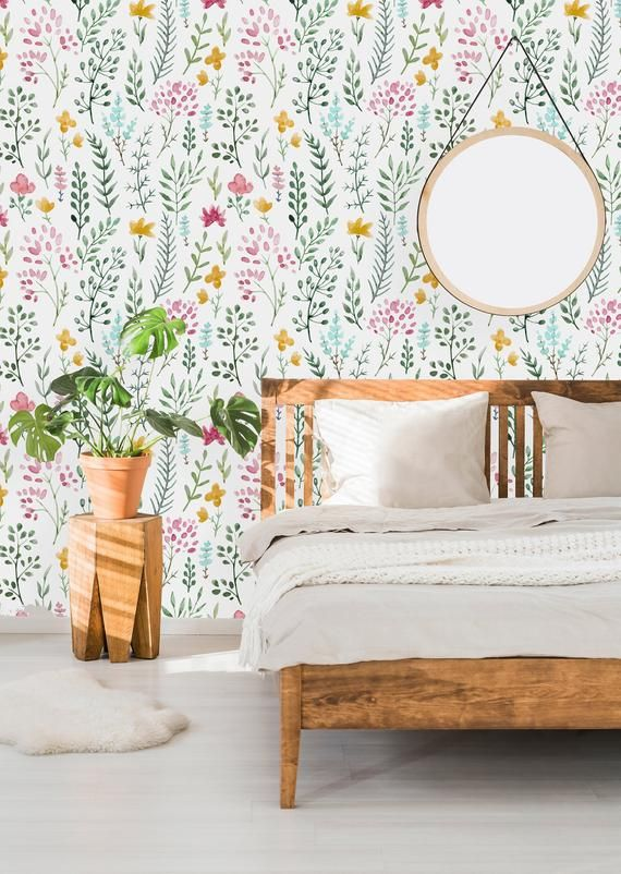 Removable Wallpaper Self Adhesive Wallpaper Watercolor Cute Etsy Small Space Design Removable Wallpaper Self Adhesive Wallpaper