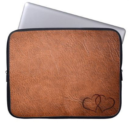 Leather Hearts - Brown - Laptop Sleeve - modern gifts cyo gift ideas personalize