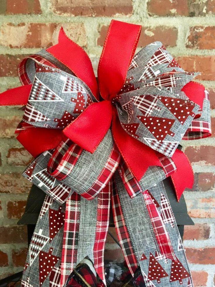 Christmas wreath bow Christmas lantern bow Farmhouse