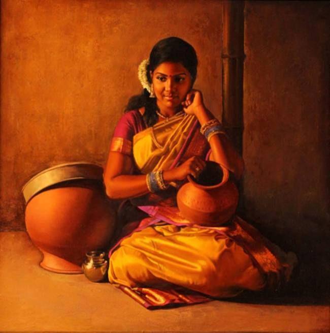 Indian artist creates photorealistic paintings of rural village girls - NetDost.com