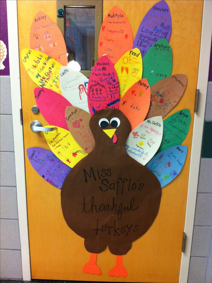 Our thankful turkey door! Each student decorates their feather with things they're thankful for!