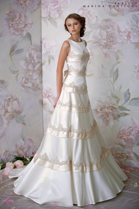 A Line Hign Neckline Satin Papilio Wedding Dress