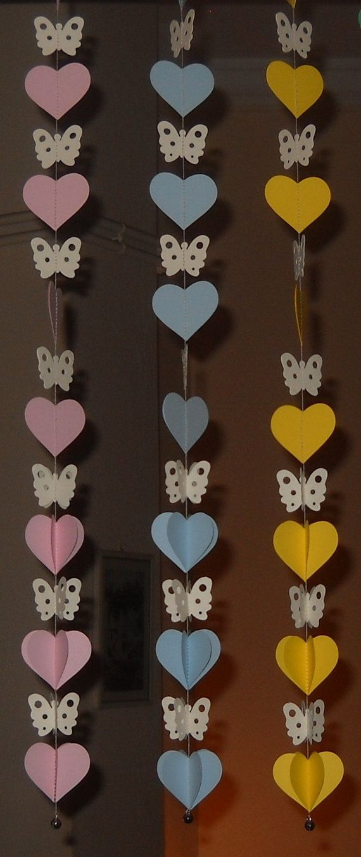 Artículos similares a 3D Paper Butterflies and Hearts mobile - garlands      Set of three en Etsy