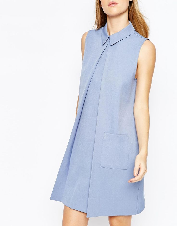 Lost Ink Pleat Aline Dress with Collar - ASOS