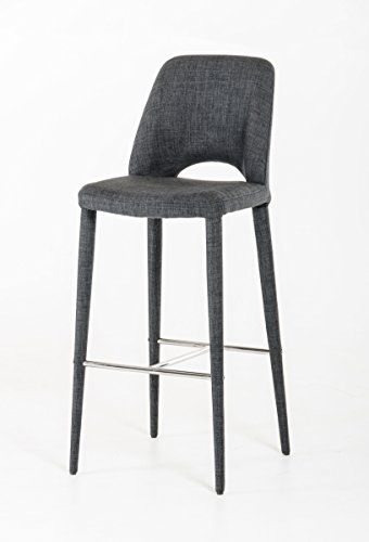 VIG Furniture Modrest Williamette Collection Modern Bar Stool Upholstered In Fabric with Metal Legs and Polished Stainless Steel Footrest, Dark Grey