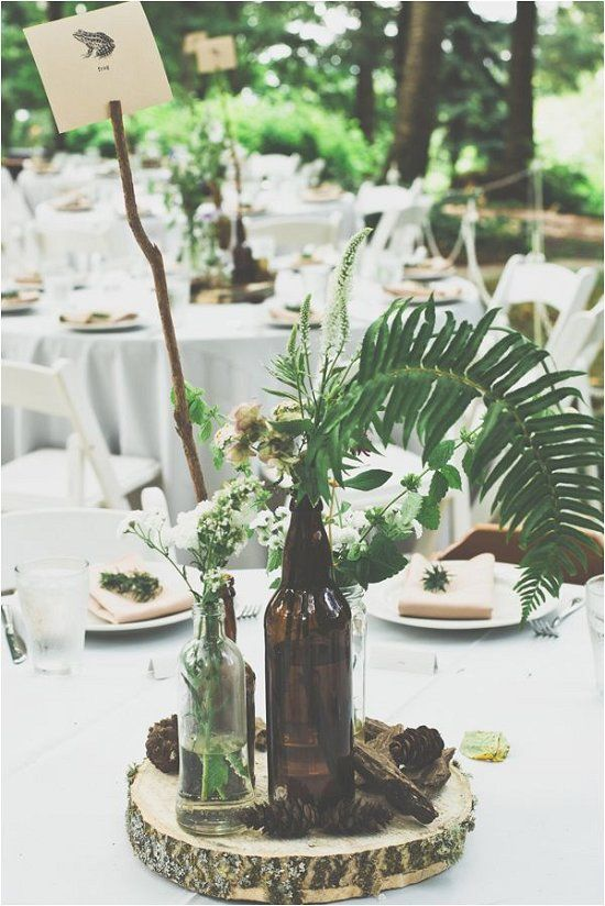 rustic green ferns wedding centerpiece / http://www.deerpearlflowers.com/greenery-fern-wedding-ideas/