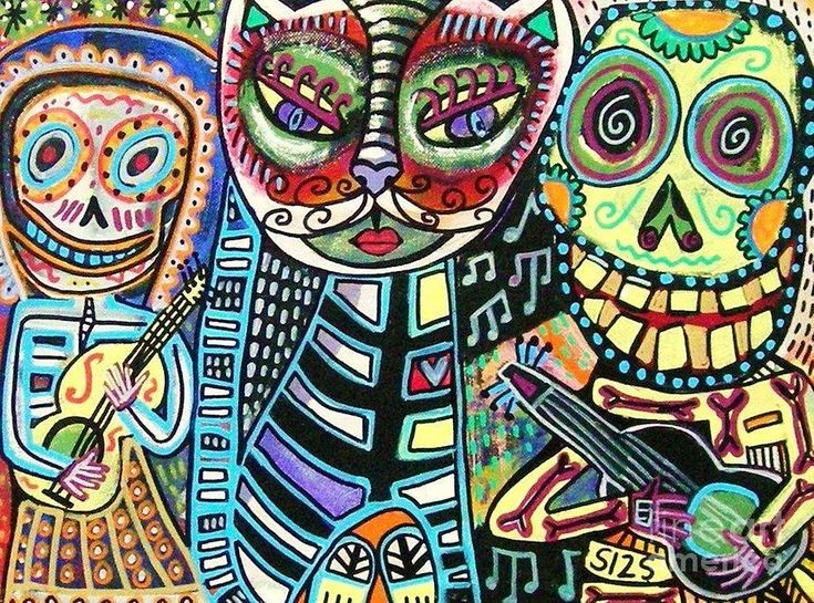 who doesnt love kitties even when they are celebrated in day of dead art    Sandra Silberzweig - artist Day Of The Dead Cat Serenade Painting  - Day Of The Dead Cat Serenade Fine Art Print