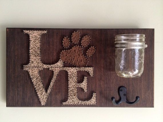 Pet leash and treat holder! Love string art! Mother's Day gift, handmade gift, rustic home decor