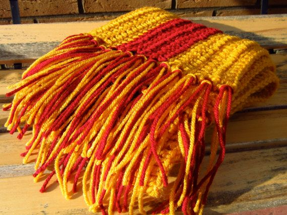 """UNCINETTO sciarpa a strisce rosse e oro circa 67 """"x 8"""""""