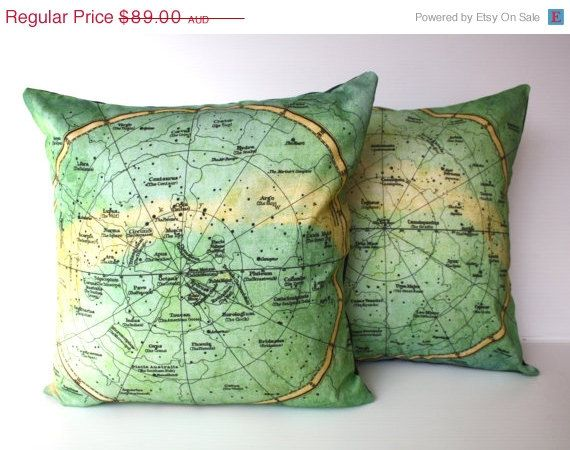 Constellation pillow covers set of 2 - one for the northern hemisphere constellations and one for the southern hemisphere