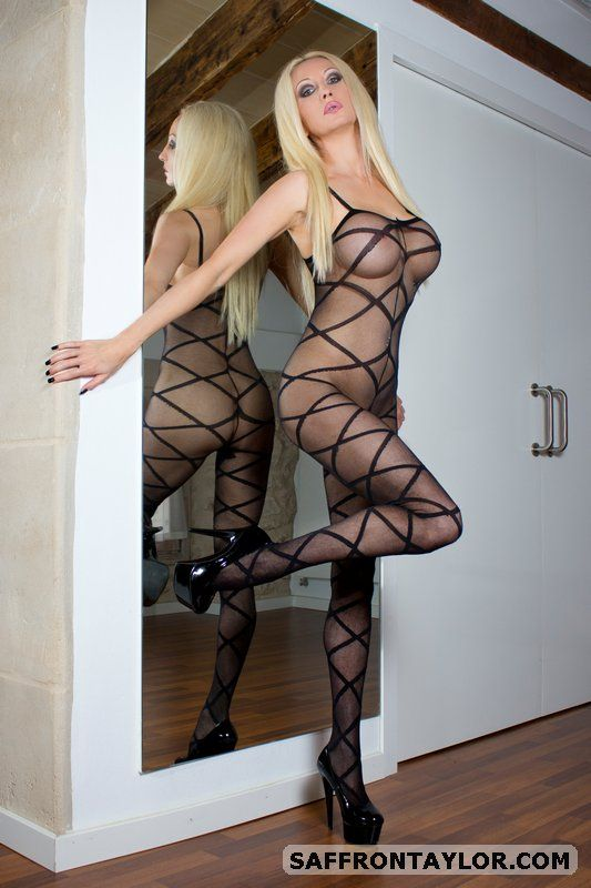 Blonde milf in body stockings