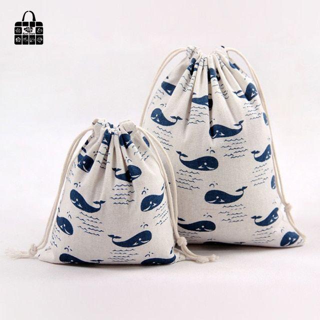 1pc Cute Blue Whale Cotton Linen Fabric Dust Bag Travel Clothes Storage Bag Portable Organizer Home Cotton Drawstring Bags Storage Bags For Clothes Cotton Bag