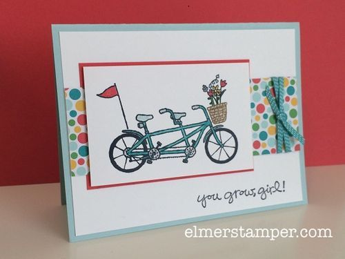 New FREE stamp set option for Stampin' Up! Sale-a-Bration: Pedal Pusher. Such an adorable stamp set!  Cute for so many occasions. Card by Kristin Kortonick #stampinup