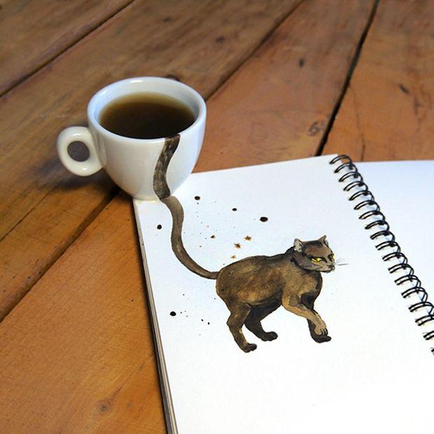 Aquarelas de gatos feitas com café por Elena Efremova;