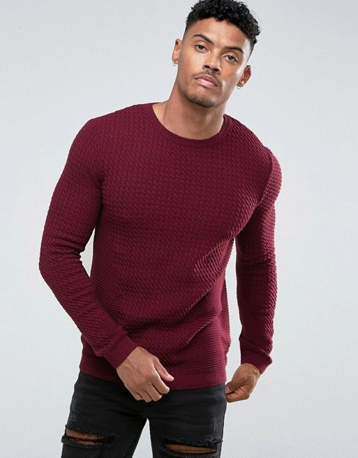 1186d7375a9 ASOS - Muscle Fit Lightweight Cable Sweater In Burgundy - $40.00 ...