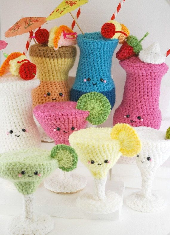 PDF Pattern- 8 Amigurumi Crochet Cocktails. $12.00, via Etsy.