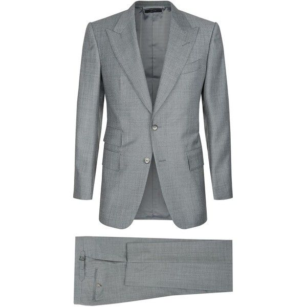 TOM FORD Windsor Suit ($3,310) ❤ liked on Polyvore featuring men's fashion, men's clothing, men's suits, tom ford mens suits, mens grey suits, mens tailored suits, mens holiday suits and mens gray suit