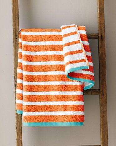 Garnet Hill Regatta Stripe Towels -orange and aqua towels