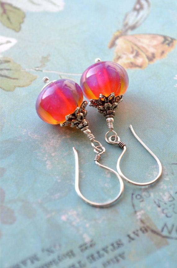 Artisan Lampwork Earrings Sterling Silver Earrings by Phoebedreams, $42.00