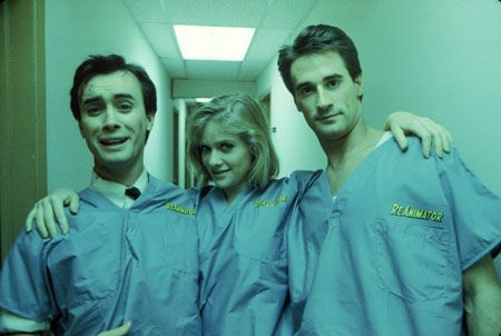 Jeffrey Combs, Barbara Crampton & Bruce Abbott behind the scenes of Re-Animator, 1985.