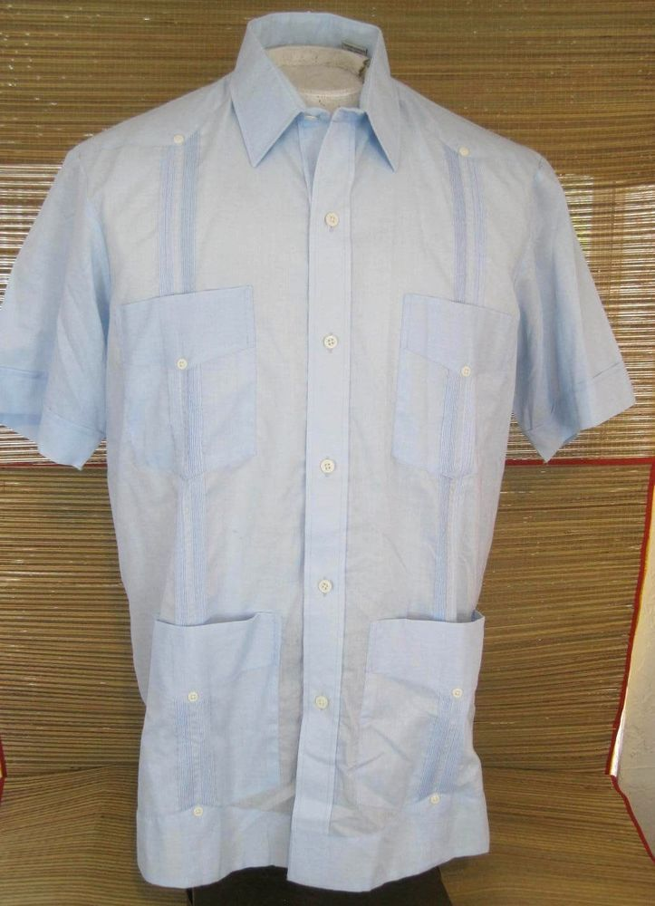 c1c7fc7dc4 RAMON PUIG Men Shirt GUAYABERA Mexican Wedding pit to pit 24 XL linen blend  blue  RamonPuig  Guayabera