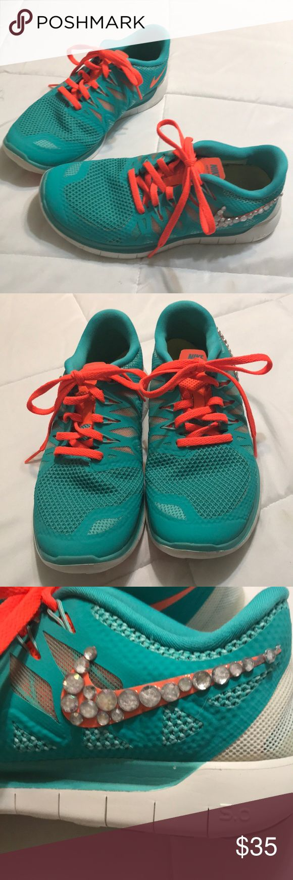 Women's Nike Free run shoes Good condition size 8, I custom the rhinestones on the Nike sign Nike Shoes Sneakers