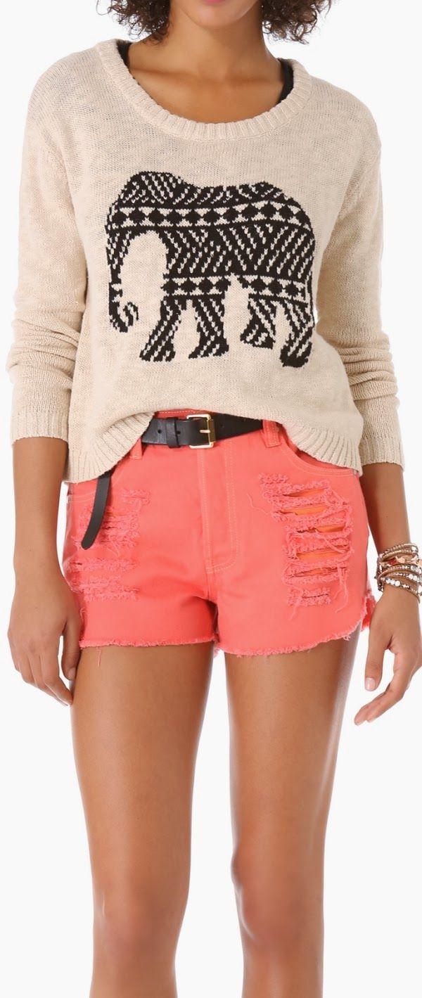 Elephant print comfy sweater and coral short