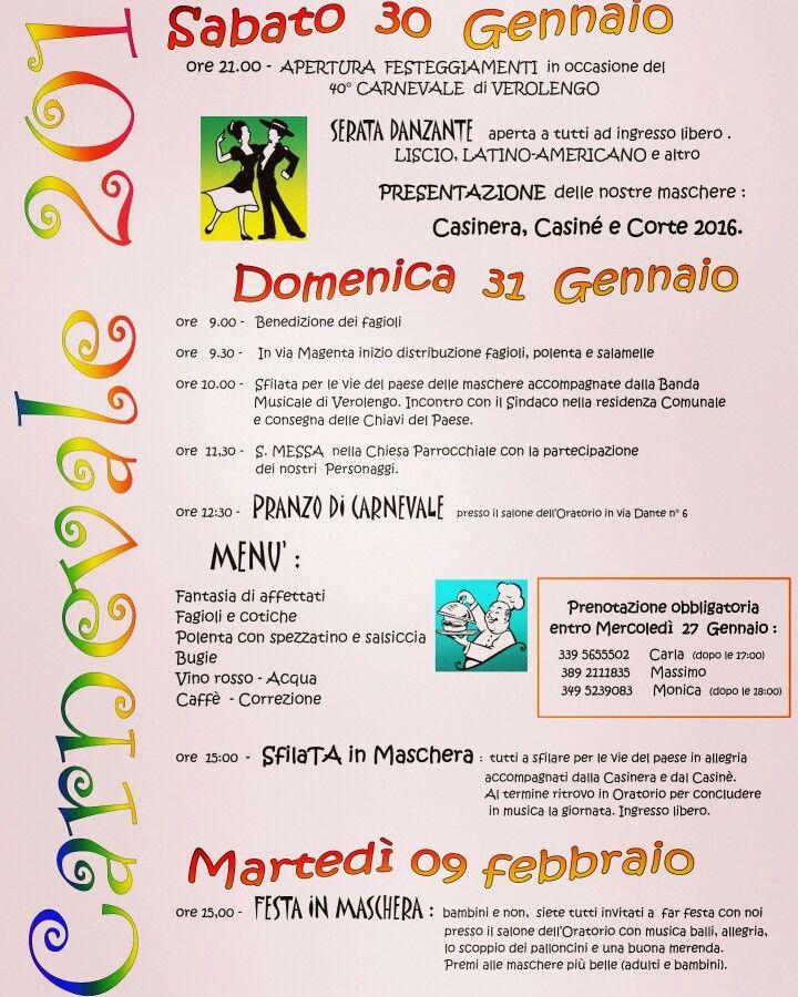 Il programma del Carnevale 2016 a Verolengo
