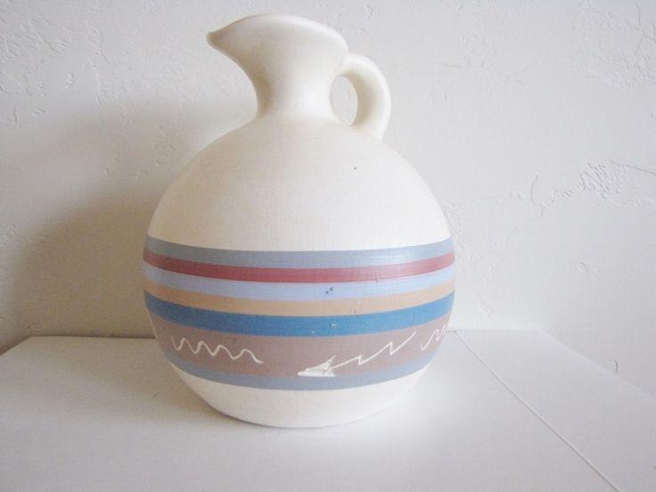 Southwestern Pitcher Decorative Vase Vintage Decor Cottage Chic Hand Painted Ceramic Pitcher Earthy Gift Ideas Under 25 SALE by PortalsMagicCloset on Etsy